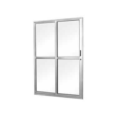 Porta de Correr em Alumínio Vidro Liso 2 Folhas Abertura Esquerda MGM Minas Lux 1,60m x 2,10m