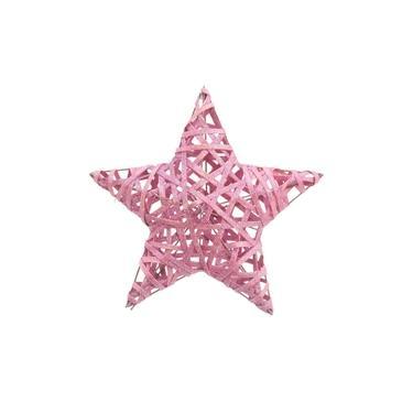 Estrela Decoração Natal 30Cm Cor Rosa 1 Unidade Plástico