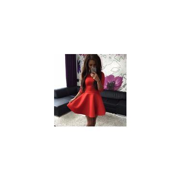 Moda feminina Slim-cortar cor sólida Comprimento Médio Vestido Vestido Festa