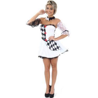 d59140758 Fantasia Palhaço Pierrot Feminino Adulto Luxo Para Carnaval - M 42 - 44