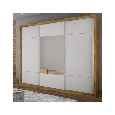6c0563479 Guarda Roupa Casal com Espelho 3 Portas de Correr Elegance Novo Horizonte  Freijó Dourado Branco
