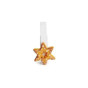 Prendedor Estrela Decoração Natal 4Cm Branco