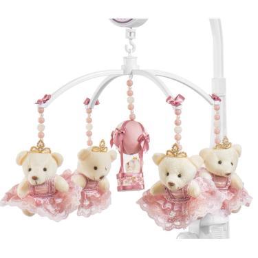 Móbile para berço musical e giratório Ursa Princesa Rose