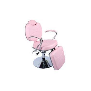 Cadeira Topazio Hidráulica Reclinável Com Relax, Móveis Salão De Beleza, Maquiagem E Design - Fortebello - Cor: Rosa Bb
