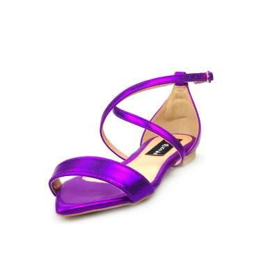 Sandalia Traseiro Love Shoes Rasteira Bico Folha Delicada Metalizado Roxo  feminino