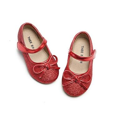 THEE BRON Sapato social feminino de balé Mary Jane, G03-red, 10 Toddler