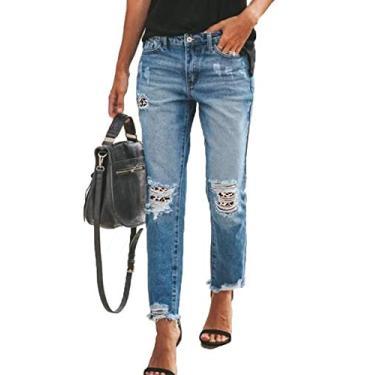 Calça jeans feminina Sidefeel rasgada slim fit lavada bainha crua desgastada, P-leopard, Small