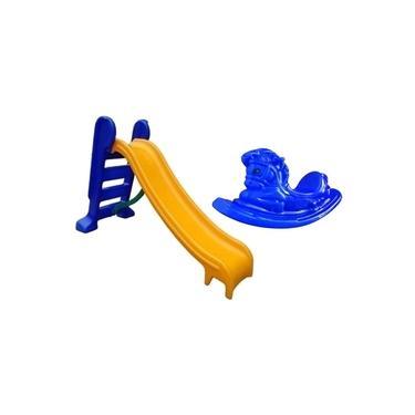 Imagem de Escorregador Infantil 3 Degraus Com Gangorra Cavalinho - Amarelo E Azul