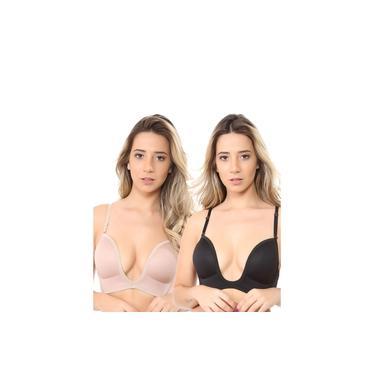 2 Sutiã Soutien Decote U Profundo Com 2 Alças Removíveis preto nude Isa lingerie