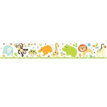 Faixa Papel De Parede Adesivo Infantil Animais Coloridos 100x15cm - Lc