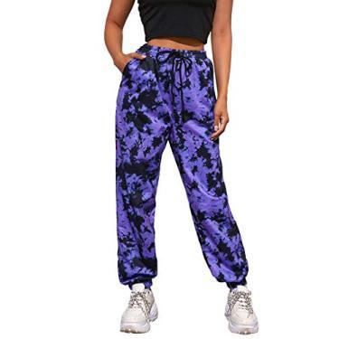DIDK Calça de moletom feminina com estampa de letras, arrastão, contrastante, Violet Purple, X-Small