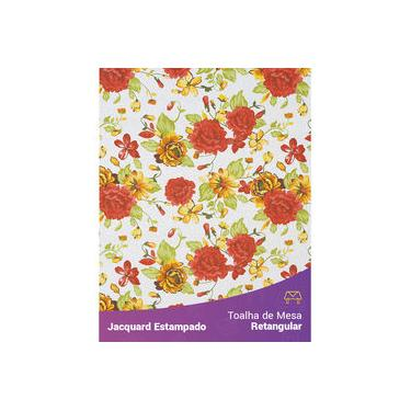 Imagem de Toalha De Mesa Retangular Em Tecido Jacquard Estampado Floral Vermelho E Laranja