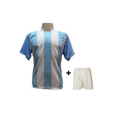 Imagem de Uniforme Esportivo com 18 camisas modelo Milan Celeste/Branco + 18 calções modelo Madrid + 1 Goleiro +