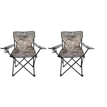 Cadeira Dobrável Camping Pesca Porta Copo Camuflada C/ 2