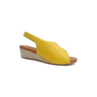 Sandalia Conforto Anabela Ad0808 - Usaflex 18 - Amarelo
