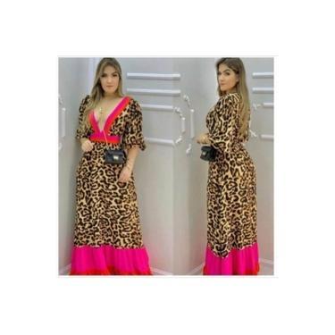 Vestido Longo Feminino Decote V Animal Print Color Tendência