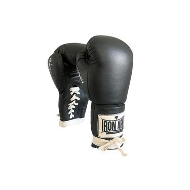 Luva De Boxe Éder Jofre Black Couro 16 Oz Cadarço Preto