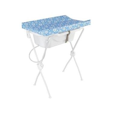 Banheira Bebê Com Trocador Floripa Azul Essencial Tutti Baby