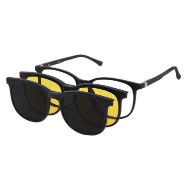 Imagem de Óculos Clipon Armação Grau Sol Quadrado Masculino Preto 7009