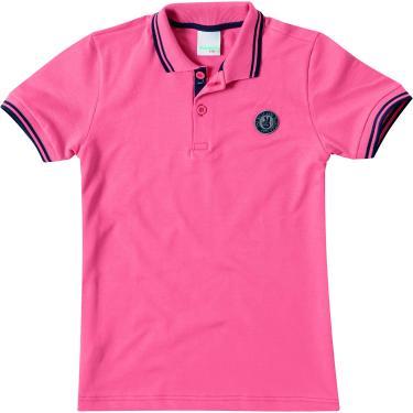 Camisa Polo piquê com aplique, Malwee Kids, Meninos, Salmão, 16