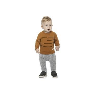 Conjunto Camiseta Calça Malha Canelada Caramelo Colorittá Caramelo 1