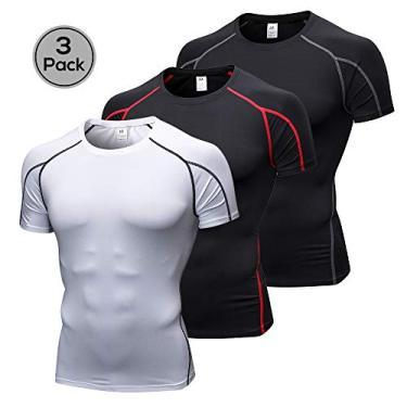 Camisa, Andoer Pacote de 3 homens camisa de compressão de manga curta de secagem rápida corrida fitness t-shirt de treino atlético Baselayer top