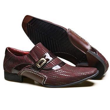 Sapato Social em Couro com Textura NBP e Metal Dourado Calvest - 3260C982 Bordô - 36
