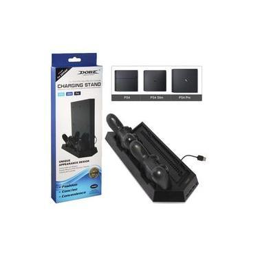 Base Vertical Console PS4 PS4 SLIM PS4 PRO para 2 Controles e Cooler Ventilação