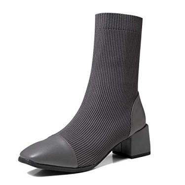 Bota feminina de bico quadrado GATUXUS salto alto grosso cano baixo quente estilo meia bota de tricô preta, Cinza, 6