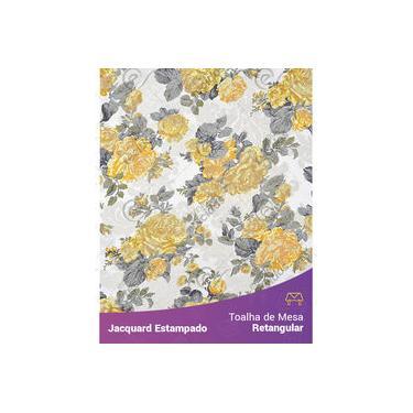Imagem de Toalha De Mesa Retangular Em Tecido Jacquard Estampado Floral Amarelo