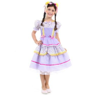 0fac6a6545d7b Fantasia Caipira Chiquinha Lilás Infantil - Festa Junina G