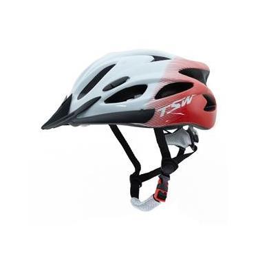 Capacete Raptor Tsw Com Led Traseiro Para Ciclismo Mtb Tamanho G 57/61 Cm Com Regulagem Branco e Vermelho