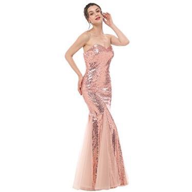 Imagem de JASY Vestidos de madrinha de casamento de lantejoulas dourados rosa vestidos longos de formatura sereia para mulheres, Mermaid Rose Gold, 8