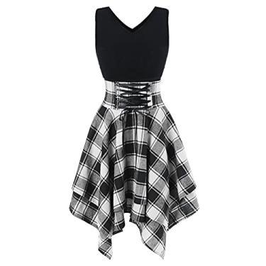 Imagem de Vestido feminino de verão xadrez, sem mangas, irregular, ombro vazado, decote em V, com cadarços cruzados, vestido slim, B: branco, XXG
