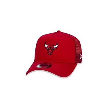 Bone 9Forty A-Frame Trucker Aba Curva Ajustavel Nba Chicago Bulls Essentials Aba Curva Vermelho New Era