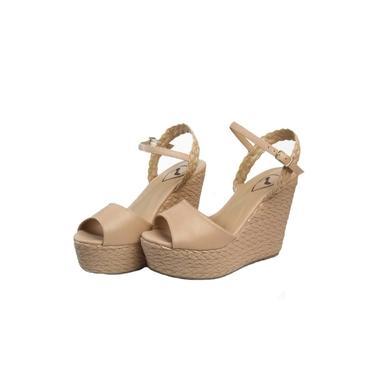 Sandalia Anabela Nude Feminina Plataforma Meia Pata Salto Alto Sapatos Femininos