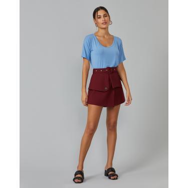 shorts crepe sobreposições com cinto Feminino AMARO VINHO 42