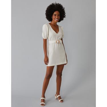 vestido curto de malha com cinto Feminino AMARO OFF-WHITE GG