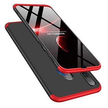 Capa Capinha Anti Impacto 360 Para Samsung Galaxy A20s Tela De 6.5Polegadas Case Acrílica Fosca Acabamento Slim Macio - Danet (Preto com vermelho)