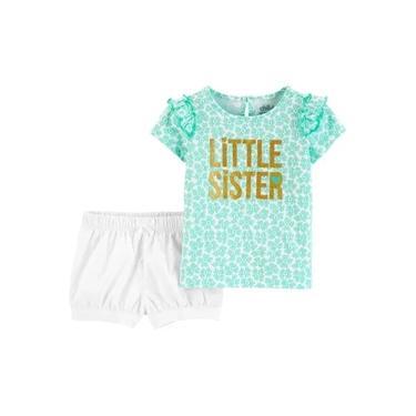 Conjunto Infantil Verão Carter's Menina - Verde E Branco