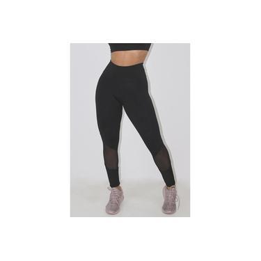 Imagem de Calça Legging Fitness GR Esporte Preto Detalhe Transparente Feminino