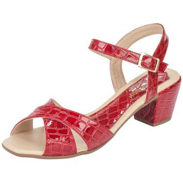 f39629c970 Sandália Lu Fashion Salto Grosso Croco Vermelho feminino