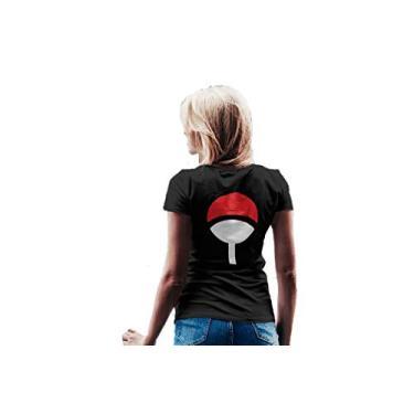Camiseta Baby Look Naruto Clã Uchiha Feminino Preto Tamanho:GG