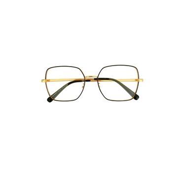 Imagem de Armação Óculos de Grau Feminina Retangular Pipa Dourado com Preto