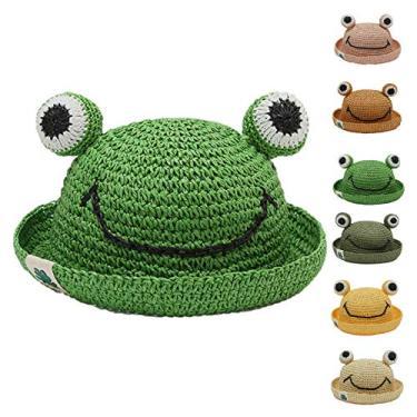 Yagor Chapéu de palha infantil, chapéu de sol sapo, chapéu de sapo para crianças de 4 a 8 anos, chapéu de verão infantil, Verde, tamanho �nico