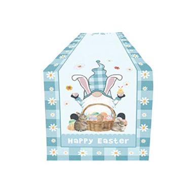 Imagem de FASW Toalha de mesa Happy Easter Bunny Gnomo Toalha de mesa de poliéster para mesa de Páscoa, 178 x 30 cm