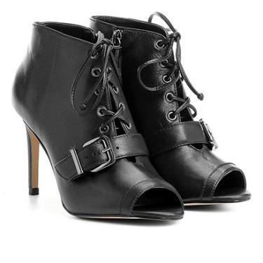 b3299f0bf7 Ankle Boot Couro Shoestock Fivela - Feminino Preto