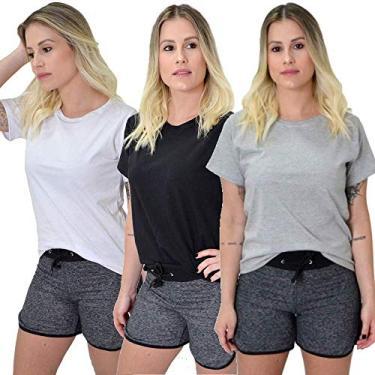Kit 3 Camisetas Blusinhas Femininas 100% Algodão Premium New Basic (M, Preto, Cinza, Rosa)