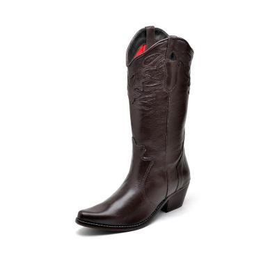 Bota Texana Country Click Calçados Couro Cafe Cano Longo Bico Fino  feminino