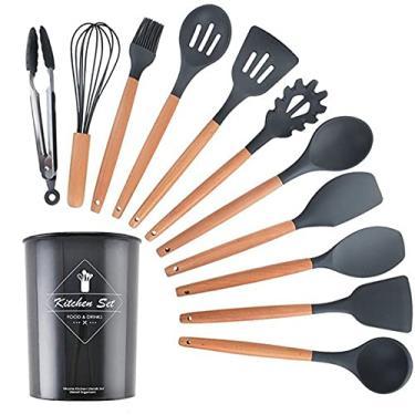 Conjunto Utensílios de Cozinha Silicone Set 12 Peças Cor Preto